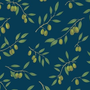 Tuscan Olive Chintz on Deep Blue