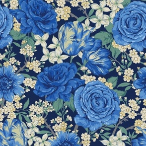 Chintz floral in blue
