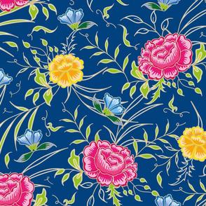 romantic exotic chintz roses blue