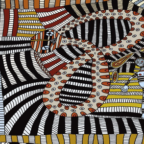 Tribal Shaman Ritual Serpent - Fat Quarter 27x18