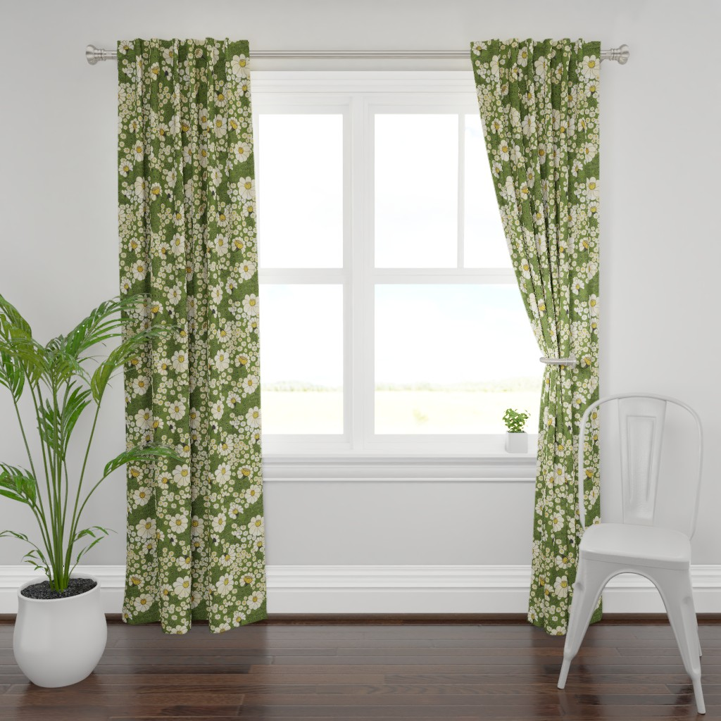 Plymouth Curtain Panel featuring Chintz Meadow Green by lidiebug