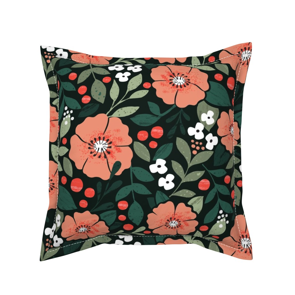 Serama Throw Pillow featuring Romantic Chintz by studio_amelie