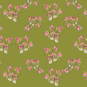 rose buds on green, collection for chintzy roses and stirpes