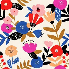 Bold Floral Pattern Wallpaper