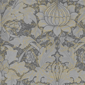 William Morris ~ St. James or Growing Damask ~ Grey Garden in the Mist