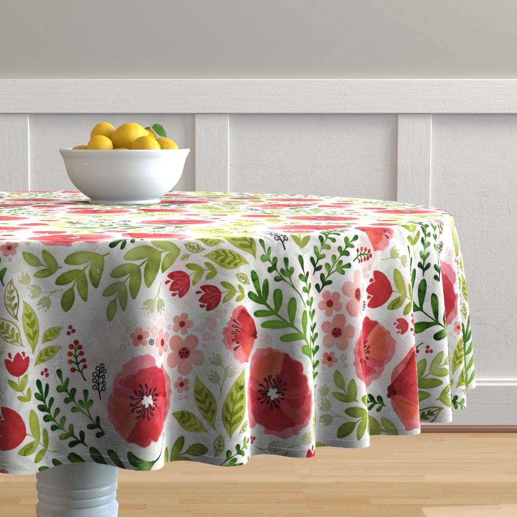 Malay Round Tablecloth featuring Poppy chintz by adenaj