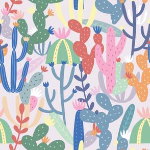 Cactus Pattern on Light Purple Background