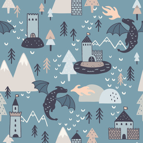 Dragon Pattern on Blue Background