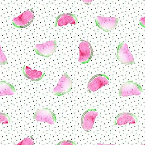 So watermelon summer • watercolor slices with dots