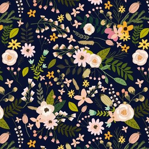 "7"" Pastel Flowers - Navy"