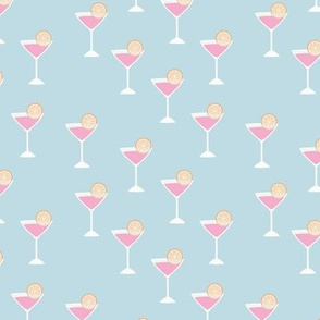 Girls night out cocktail glass birthday celebration cheers and manhattan cosmopolitan drinks gin blue pink