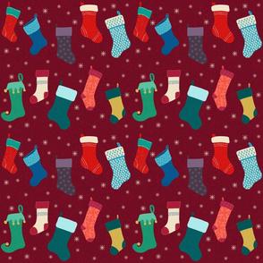 Holiday Stockings Maroon