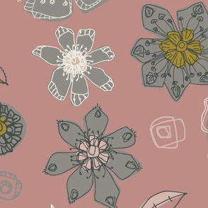 Linear dusky pink white olive green charcoal grey floral flower contemporary hand-drawn repeating pattern design