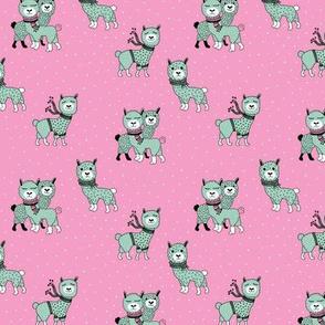 Christmas llama alpaca winter wonderland snow night pink mint girls