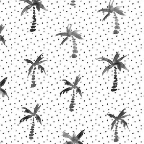 Noir watercolor palms with dots for neutral modern nursery