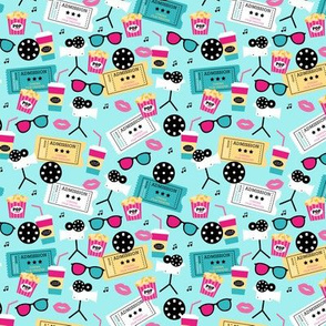 Let's go see a movie film theater illustration pattern mint