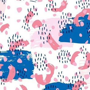 Confetti party minimal brush strokes and rain spots la style pop trend blue pink