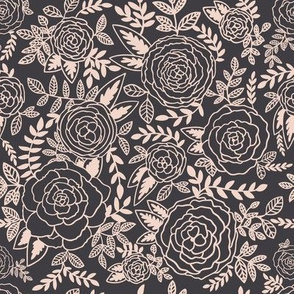 Wonderland Roses Charcoal and Pink