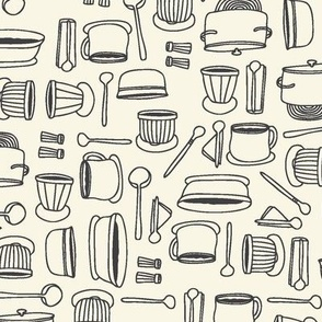 Pots and Pans with creamy white background