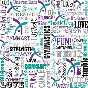Gymnastics Words Fabric Purple Teal