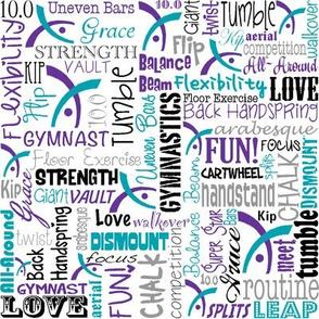 Gymnastics Words Fabric Purple Turquoise