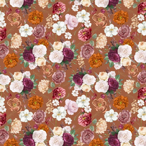 Vintage Florals and Wildflowers on Brown