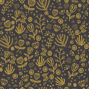 Wonderland Flower Whimsy - black and yellow