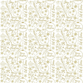 Gold Christmas Pattern on White