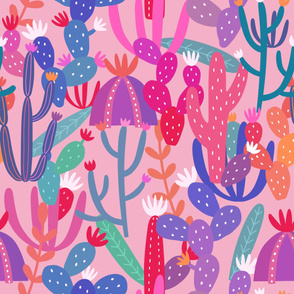 Cactus Pattern on Pink Background
