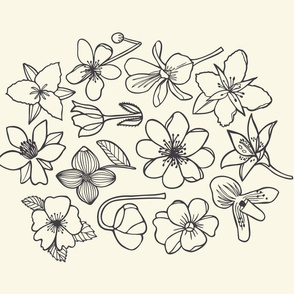 Canadian Flowers tea towel - in white and black