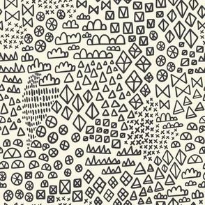 Wonderland Geometric Shapes Black