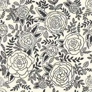 Wonderland - Roses - Charcoal Black