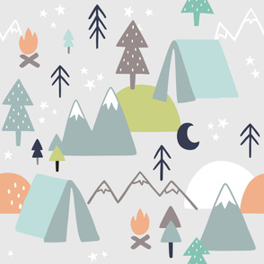 Camping Pattern on Light Grey Background