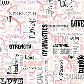 Gymnastics Words Fabric Rose Gold