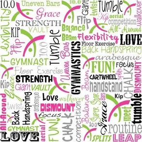 Gymnastics Words Fabric Lime Pink