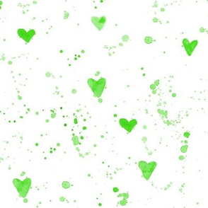 Green watercolor hearts and paint splatters ll watercolor for modern nursery
