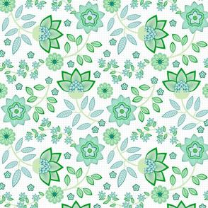 chintz in green