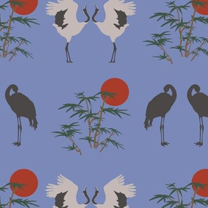 Cranes and Bamboo on Blue