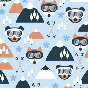 Winter mountains kawaii animals wonderland skiing and snowboarding friends with goggles fox cat and bear blue cinnamon