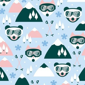 Winter mountains kawaii animals wonderland skiing and snowboarding friends with goggles fox cat and bear blue pink girls