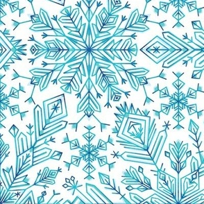 Winter snowflakes on white