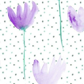 Emerald and amethyst watercolor dainty florals for modern home decor