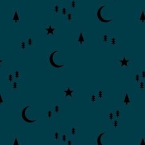 Midnight winter wonderland moon stars and christmas trees minimal geometric modern trend nursery design navy blue