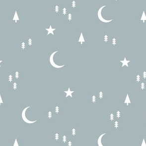 Midnight winter wonderland moon stars and christmas trees minimal geometric modern trend nursery design soft cool gray