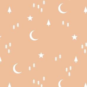 Midnight winter wonderland moon stars and christmas trees minimal geometric modern trend nursery design soft peach sand