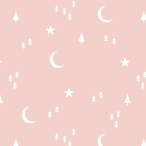Midnight winter wonderland moon stars and christmas trees minimal geometric modern trend nursery design soft pale pink