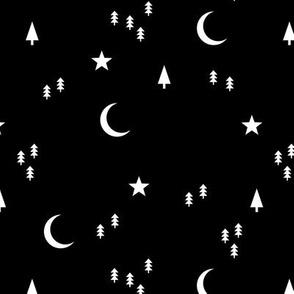 Midnight winter wonderland moon stars and christmas trees minimal geometric modern trend nursery design black and white monochrome