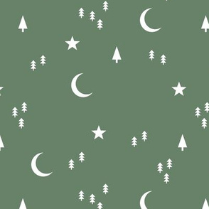 Midnight winter wonderland moon stars and christmas trees minimal geometric modern trend nursery design sage green