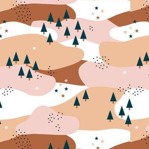 Little mountain woodland winter wonderland Christmas forest pine trees pink desert sand rust