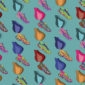 Winged Shoes - Teal Background